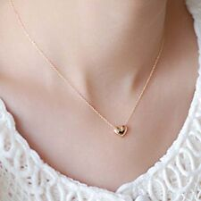 Tiny Elegant Gold Love Heart Cute Short Necklace Present Beautiful for Lady Girl