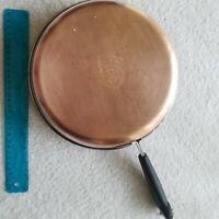 """Revere Ware 1801 Copper Clad Bottom 10"""" Skillet Patent 2272609 - No Lid Vintage"""