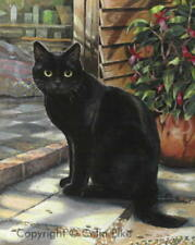 Beautiful Black Cat Golden Eyes Greetings Card From Celia Pike Painting BS5