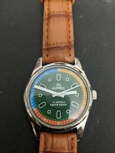 Rare Vintage 1970's Men's Multicolor Roamer Wristwatch with Swiss Movement