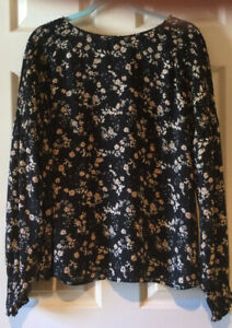 a.n.a. Top Black Tan Floral Smocked Shoulder Cuff 3/4 Sleeve Top Size XL NWOT