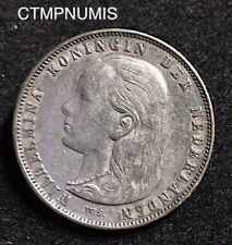 PAYS BAS   1 GULDEN  ARGENT    WILLEMINE  1892