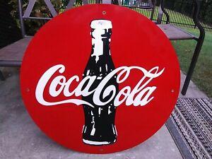 Vintage Coca Cola Porcelain Sign Gas Oil Automotive