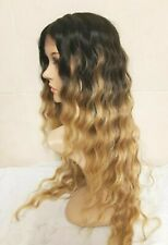 Light Blonde Ombre Dark Roots Human Hair WIg Lace Front Curl perm