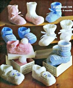 Knitting Pattern DK & 4 ply Baby Shoes Bootees Slippers 0/3 & 3/6 mths