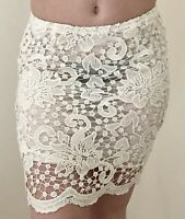 Jupe Robe Courte Dress Dentelle Blanche Transparent Sexy Soirée ♥ Taille S-M