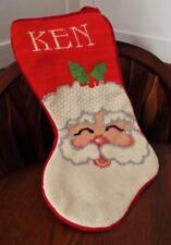"""KEN personalized Hand Stitched Needlepoint Christmas Red Stocking Santa 15"""" Wool"""