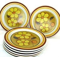 "7 Vintage ASCONS Daisydale # 8517  Stoneware 7.5"" Plates Yellow Daisies Japan"
