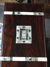 More details for large rosewood writing slope ! pewter wire & abalone & mother of pearl banding