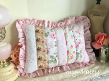 Ruffles! Puffy PATCHWORK PILLOW made w/RACHEL ASHWELL PiNK Rose fabric NEW