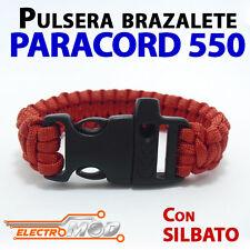 Pulsera Paracord 550 ROJO silbato supervivencia cuerda montaña