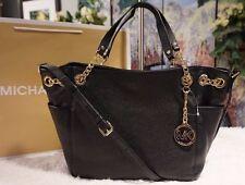 NWT Michael Kors JET SET Chain Gather Shoulder Tote Bag Leather Color BLACK $328