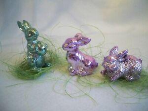 Gisela Graham SET of TWELVE Metallic Easter Bunnies In Bags W' Grass Decorations