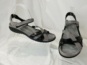 Women's Naot Strappy Fabric Leather Open Toe Sandals SZ 40 / US 9 M Ankle Straps
