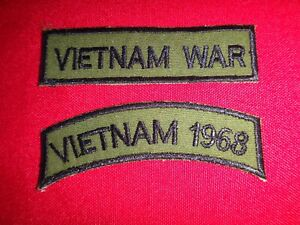 "2 Vietnam WAR Patches: ""Vietnam WAR"" And ""VIETNAM 1968"" Subdued Arcs"