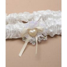 NEW White lace with cream ribbon and heart pearl bow wedding bride garter