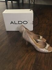 ALDO Women's Size 7 Beige Leather Silver Studded Rhinestone Stiletto High Heels