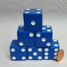 Dice -25mm Opaque Blue w/White Pips -  Set of six - Very LARGE & Easy To See> QQ