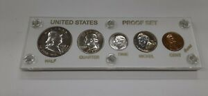 1951 United States Mint 5 Coin Proof Set in White Capital Holder 90% Silver (F)