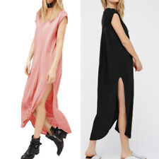 ZANZEA AU 8-24 Women V Neck Full Length Side Slit Summer Maxi Long Dress Blouse