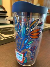 New Tervis Tumbler 16 OZ Blue Floral Tumbler Travel Cup With Lid