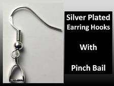 925 Stamped Silver Earring Hooks with Pinch Bail  DIY - Free Delivery