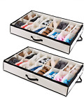 Woffit Under Bed Shoe Storage Organizer – Set of 2 Large Containers, Each Fit 12