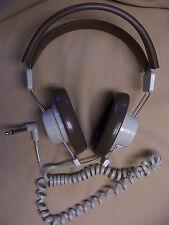 "TELEX 610 MONO HEADPHONE 1/4"" coil cord brown school METAL DETECTOR ham radio"