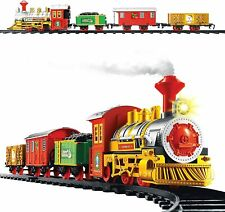 Deluxe 14pc Christmas Train Track Set Realistic Sound Head Light 3 Carriages