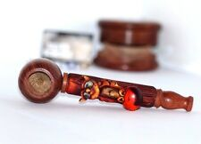 "Owl 5"" Wood Tobacco Smoking Pipe FREE Wood Grinder, 5 Metal 5 Glass Screens"
