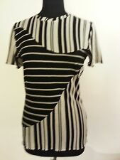 Blouse-Size 8-Multi-Color-Rayon Blend-Casual-Short Sleeved-Striped