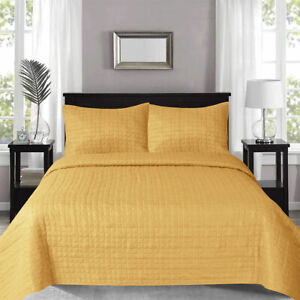 Prism Checks Mustard Quilted Coverlet Set Queen/King by J Elliot Home