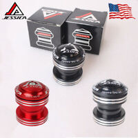 """JESSICA Cycling Integrated Sealed Bearings Headset MTB Black/Red 1-1/8"""" Aluminum"""