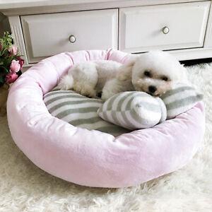 Soft Velvet Lounger Sofa for Kitten Puppy Cat Dog Nest Kennel With Pillow Pink