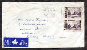 p1454 - WINNIPEG 1970 Airmail Cover to England. 30c Rate. 2x15c Centennial ✉