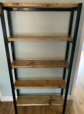 Ladder Bookcase Shelving Shelf Unit Steel And Reclaimed Wood Rustic Industrial