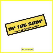 1 x UP THE SHOP Iron on, Sew on, woven, embroidered badge