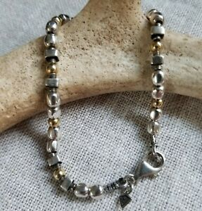 stamped 925 925 elongated chain with \u201cloved\u201d tag and coral beads 2mm 7.5\u201d vintage Sterling silver handmade bracelet