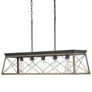 Progress Lighting Briarwood 5-Light Black Chandelier with Rich Oak Accents