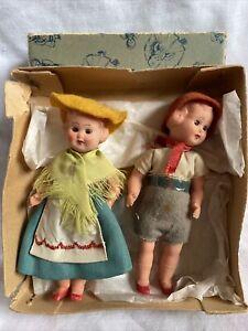 Vintage Celluloid Miniature Pair of Dolls Sleepy Eyes Made in Italy Original Box