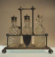 VINTAGE SILVER PLATE CRUET CONDIMENT SPICE SET CRYSTAL CUT GLASS 6 PIECES