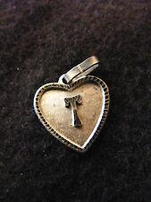 Colgante Corazón Medallón en PLATA Chapado Letra T 1,5 cm