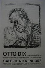 Otto Dix Orig Plakat Ausstellung Galerie Nierendorf Berlin 1966