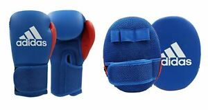 adidas Boxing Gloves & Focus Mitts Training Set Sparring Adults Kids Pads Mesh