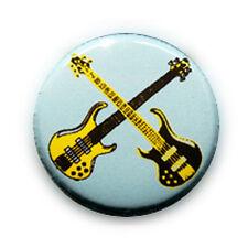 Badge DOUBLE ROCK GUITARS Jaune/Bleu CIEL Punk Rockabilly pop pins button Ø25mm