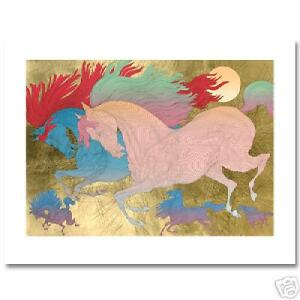 """""""Les Champion"""" with Gold Leaf Hand Signed Serigraph by GUILLAUME AZOULAY 10/150"""