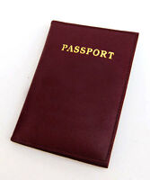 Burgundy Leather Passport Cover Travel ID Credit Travel Card Holder Wallet
