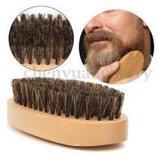Natural Boar Bristle Beard Men's Mustache Brush Military Round Wood Handle Comb