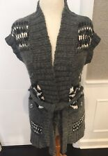 MOSSIMO SZ L DK GRAY FAIR ISLE PRINT SLEEVELESS SWEATER TUNIC WITH MATCHING BELT
