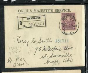 BARBADOS COVER (P1304B) 1927  SEA HORSE  6D  REG OHMS  COVER TO  USA